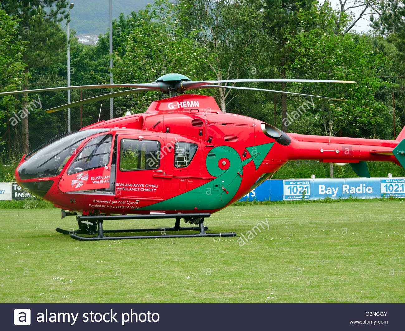 A Wales air ambulance EC 135 helicopter - Stock Image