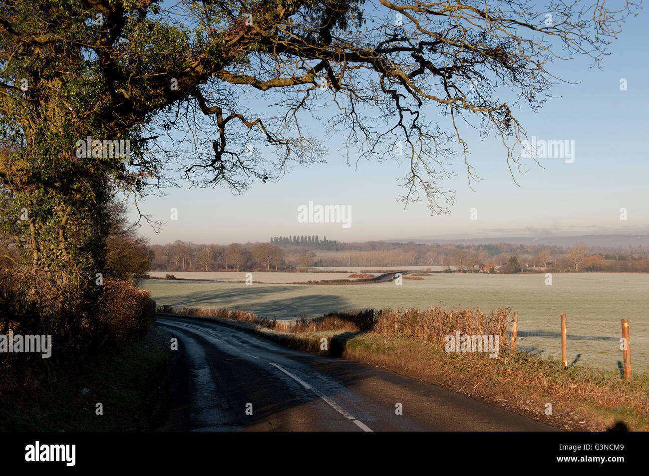 Kent countryside in winter, UK Stock Photo