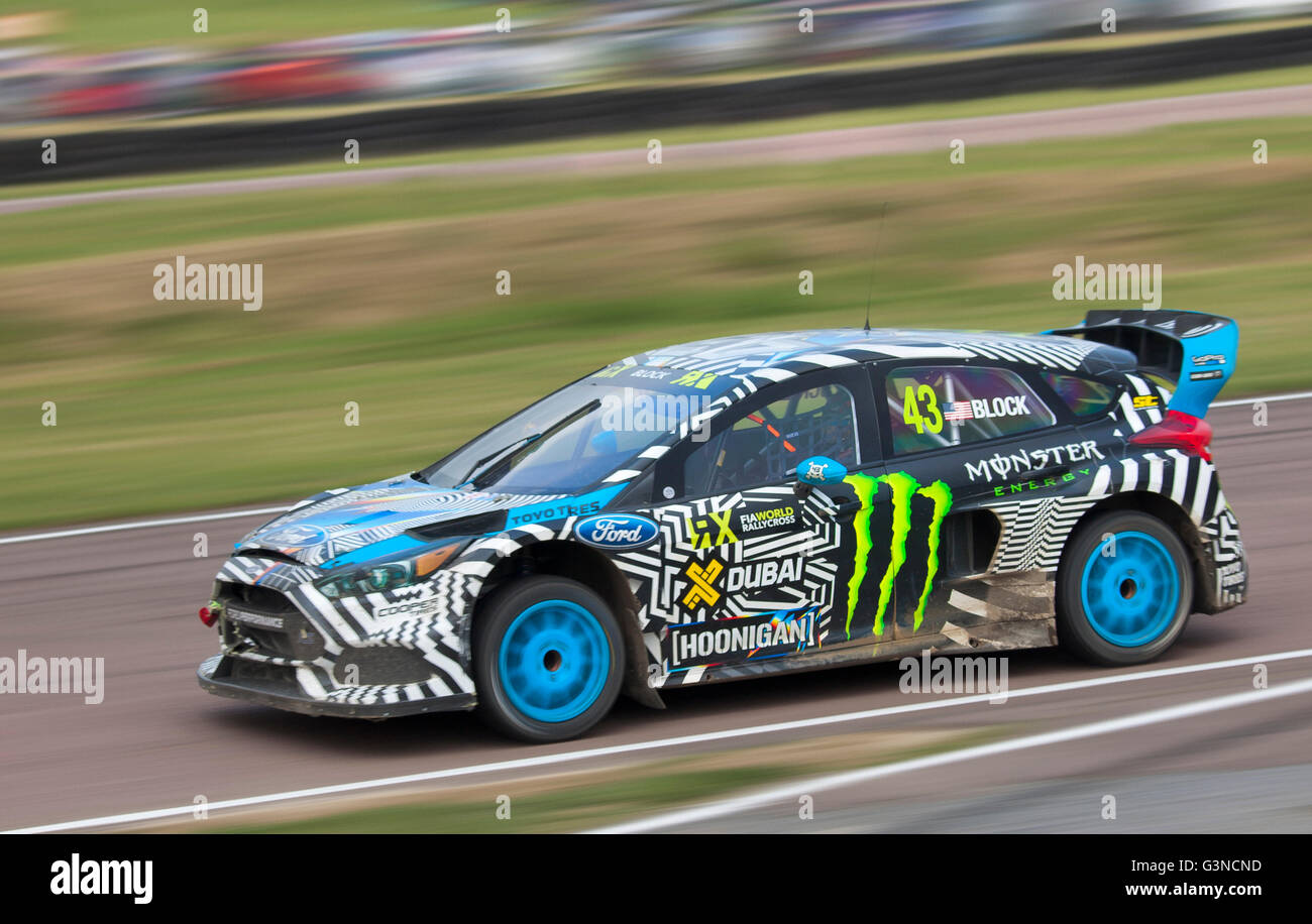 world rallycross racing ford focus rs rx driven by ken block stock photo 105577177 alamy. Black Bedroom Furniture Sets. Home Design Ideas