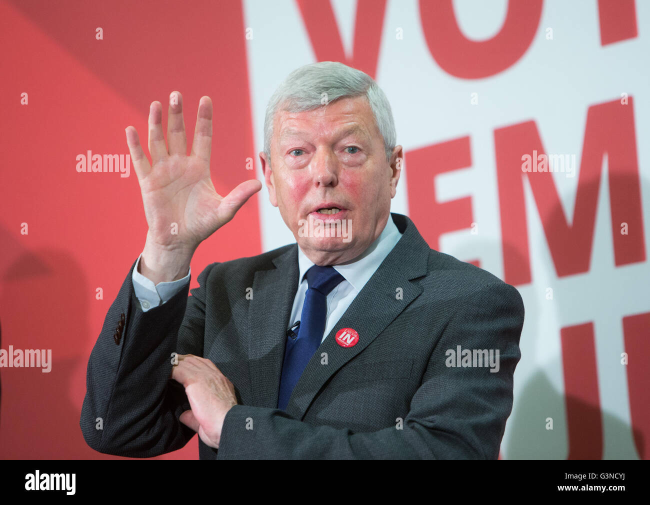 Alan Johnson MP speaks at a conference for the 'Vote In' campaign ahead of the June 23rd referendum vote - Stock Image