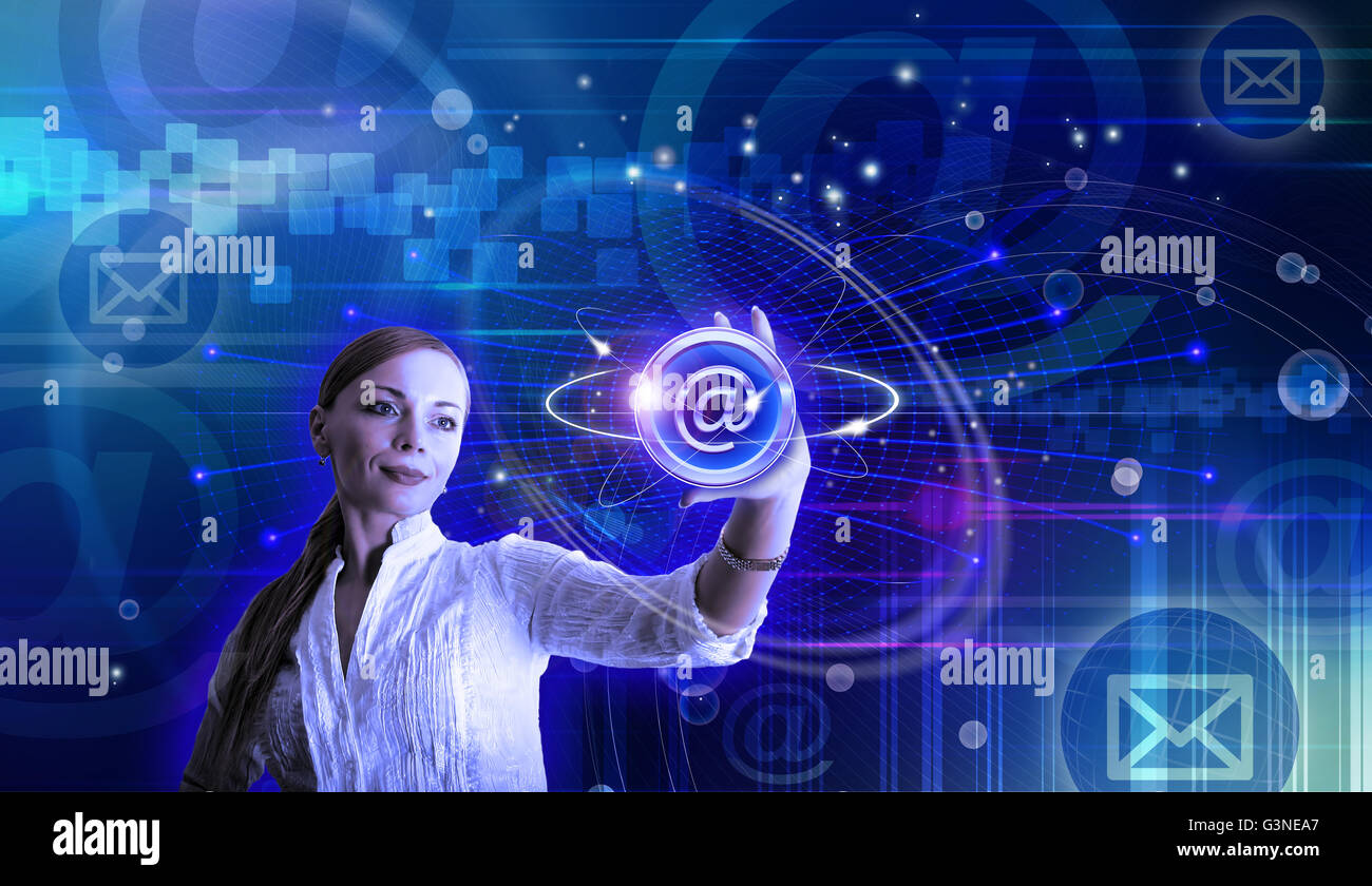 E-mail and internet conceptual illustration with a woman holding at sign - Stock Image