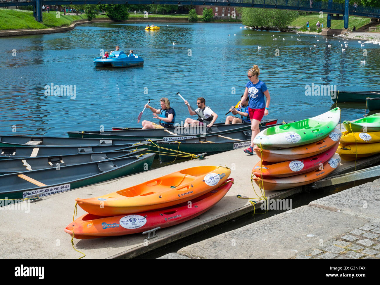 Exeter Capital city of Devon England UK The Quay Saddles and Paddles canoe hire - Stock Image