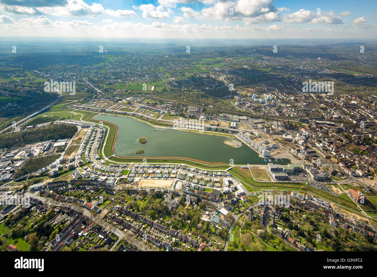 Aerial view, Phoenix Lake is an artificial lake on the former steelworks site Phoenix East in the Dortmund district - Stock Image