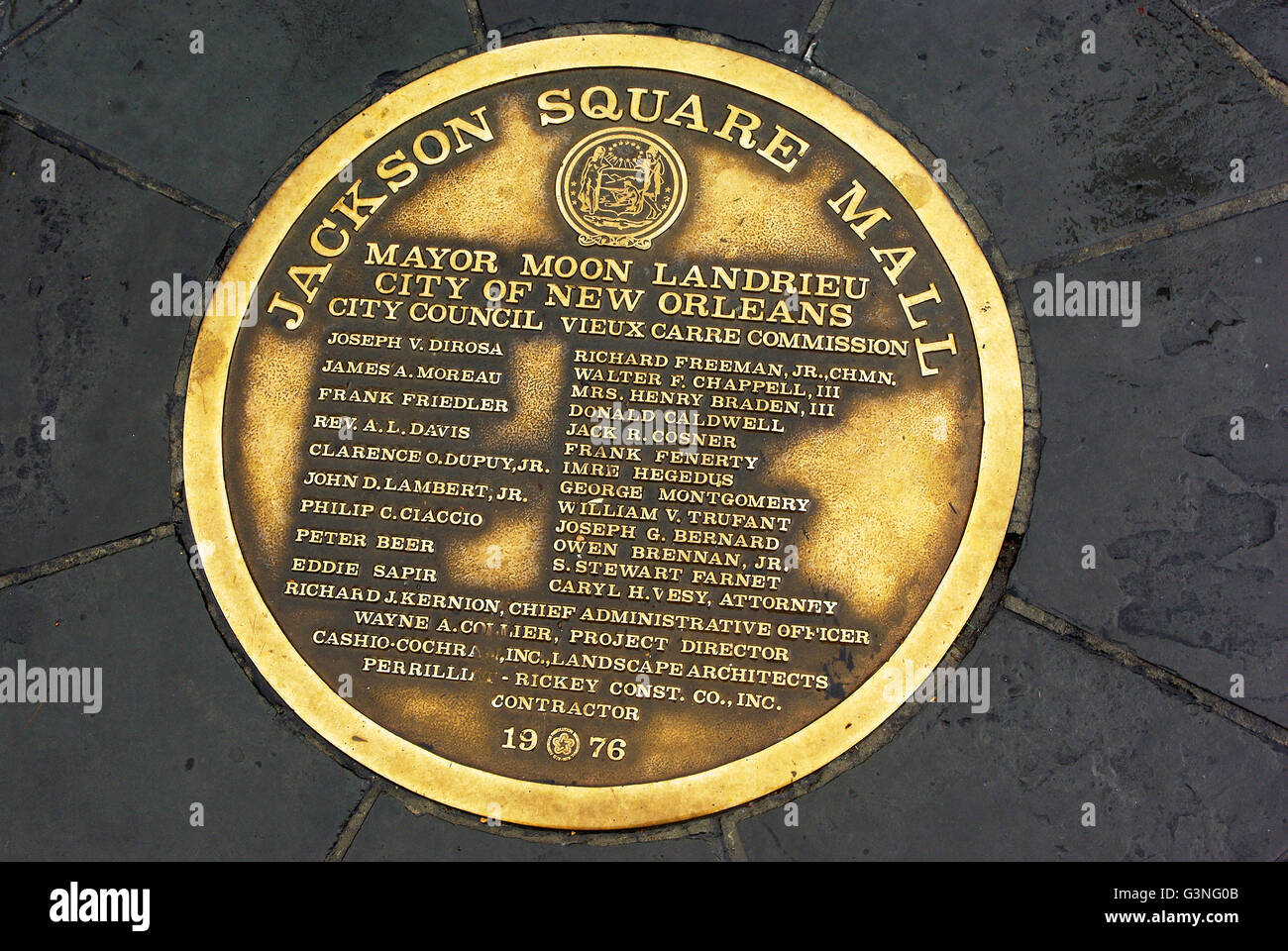 Brass plate on sidewalk outside Jackson Square Mall in New Orleans - Stock Image