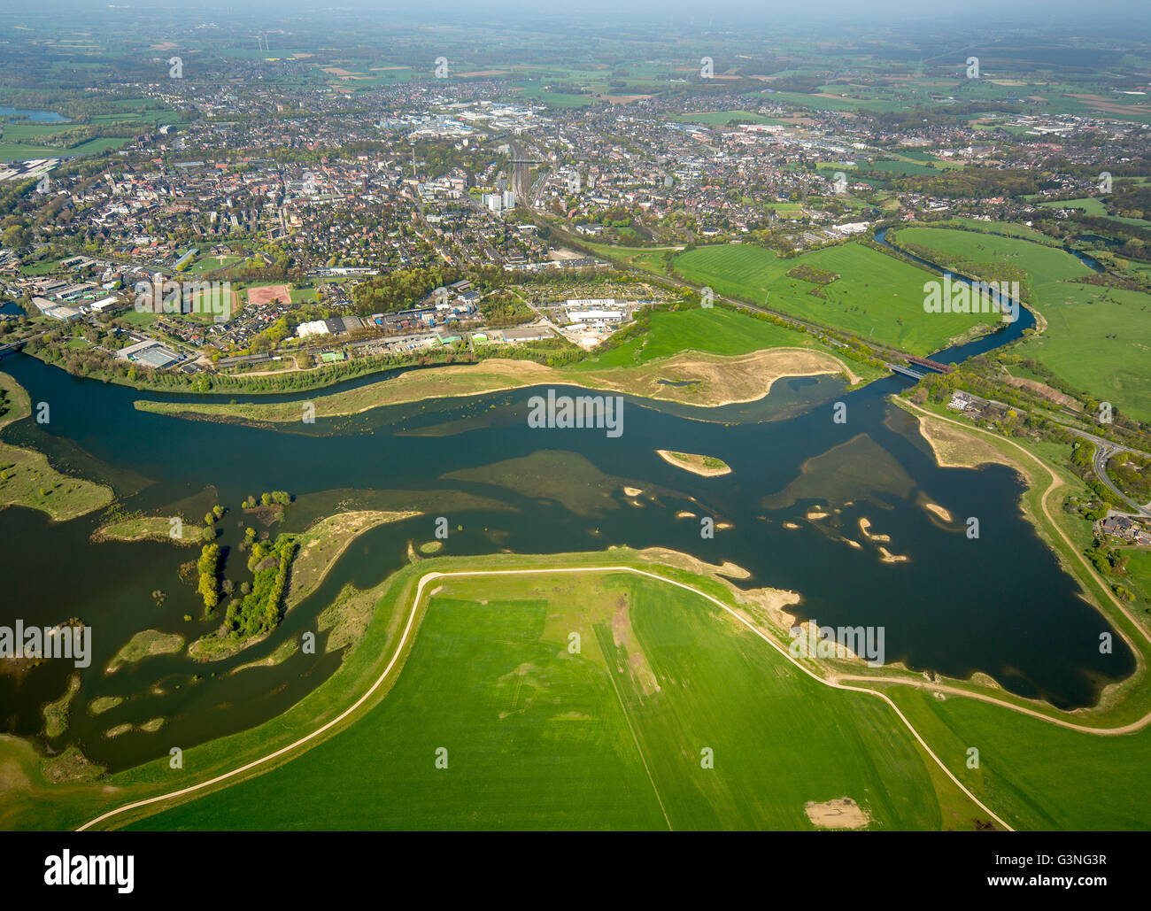 Aerial view, Lippe joins the Rhine, reconstruction, conservation, flood plains, Lippeverband, Wesel, Ruhr Area, Stock Photo