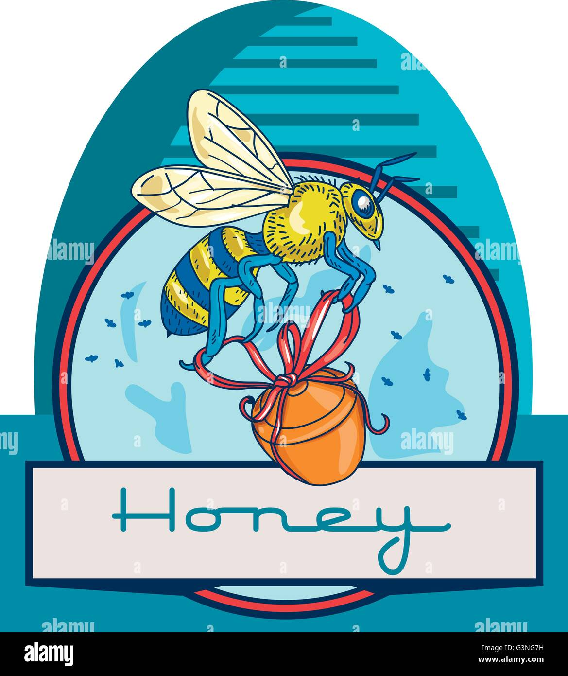 Illustration of a worker honey bee carrying a honey pot with ribbon with skep in the background set inside circle - Stock Vector