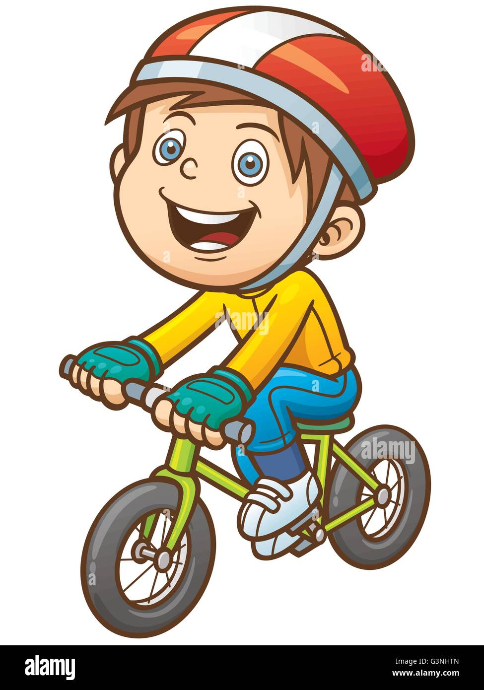 Vector illustration of Cartoon boy on a bicycle - Stock Image