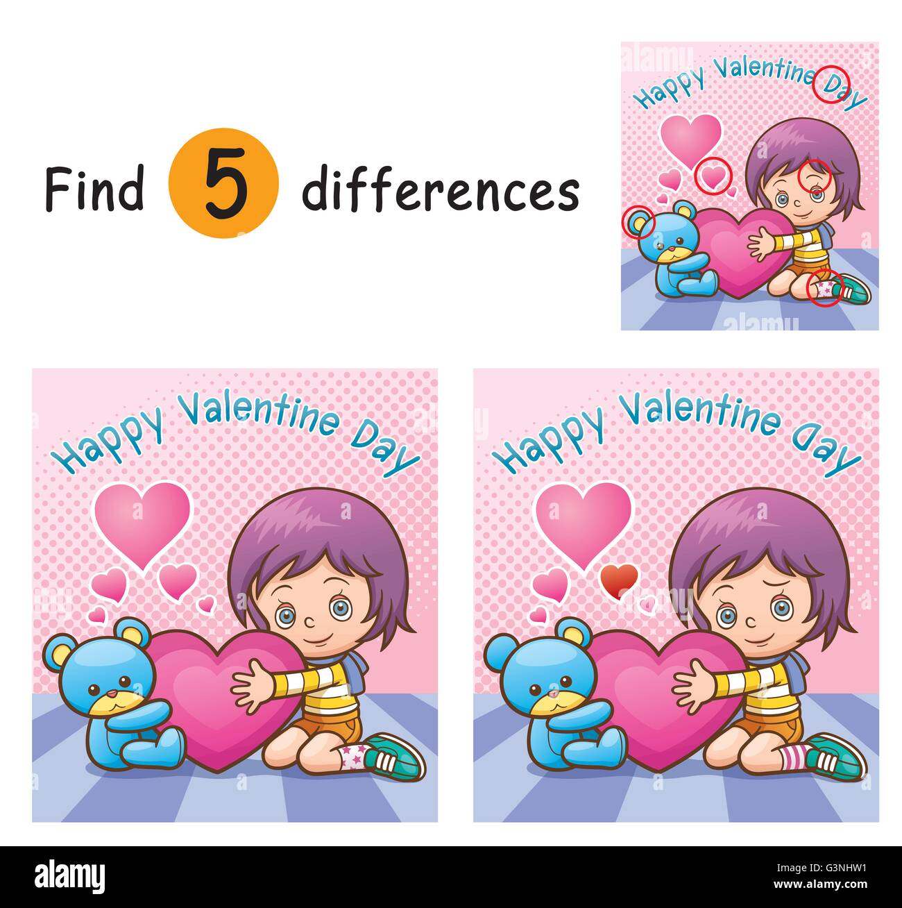 Vector Illustration of Game for children find differences - Girl - Stock Vector