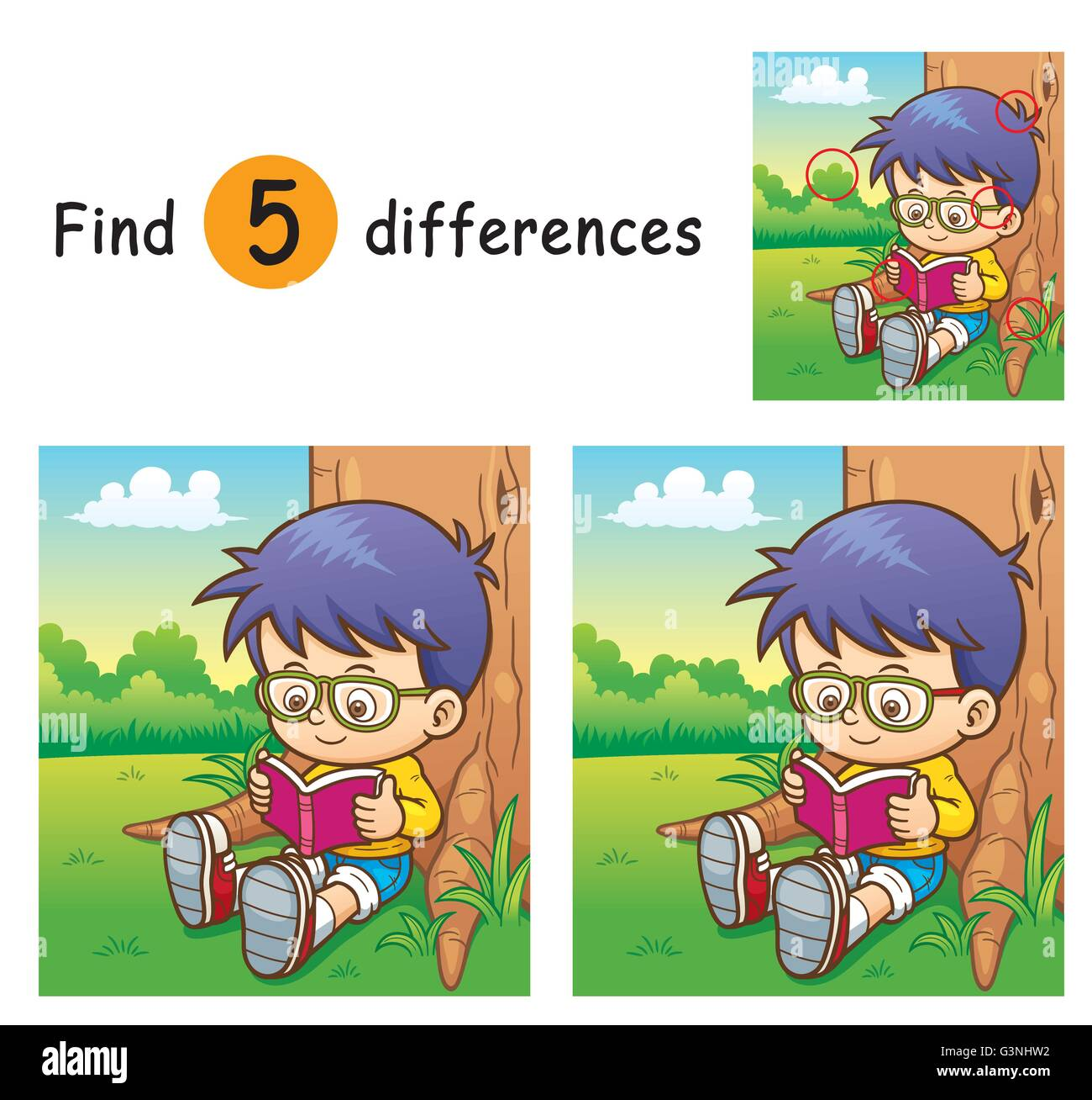 Vector Illustration of Game for children find differences - Boy - Stock Vector