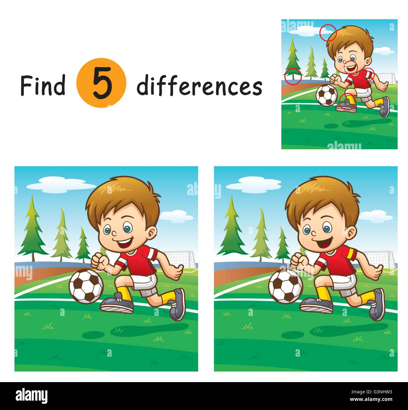 Vector Illustration of Game for children find differences - Soccer player - Stock Vector