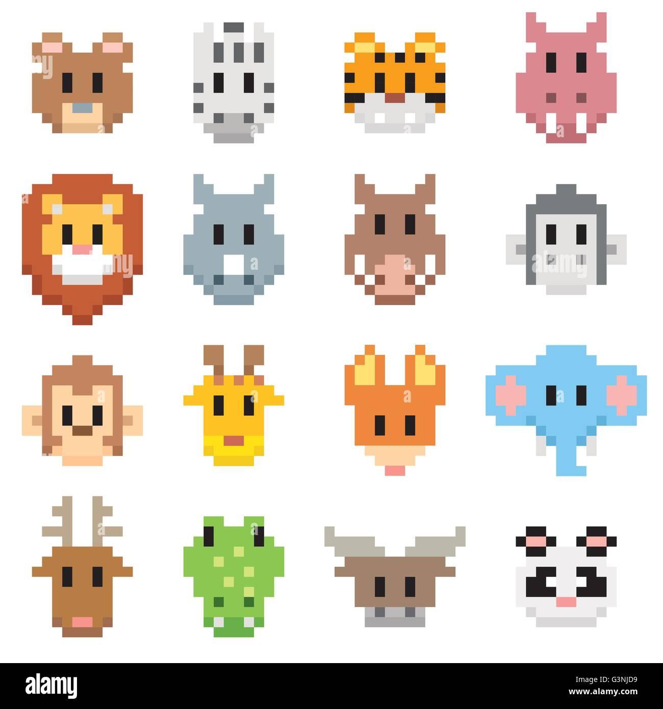 Vector Illustration Of Animal Cartoon Pixel Art Style