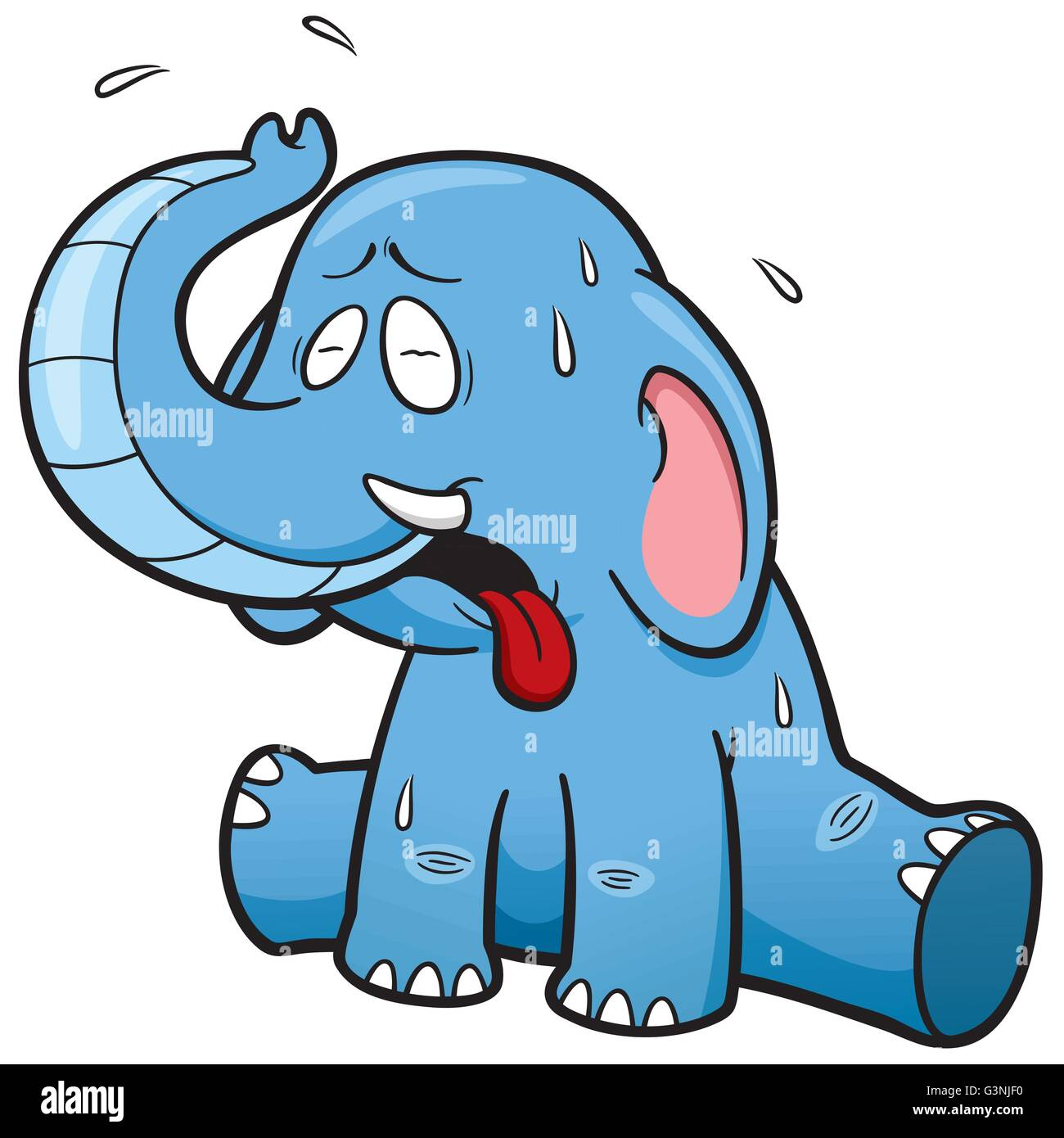 Vector illustration of cartoon Elephant in Hot Weather - Stock Vector