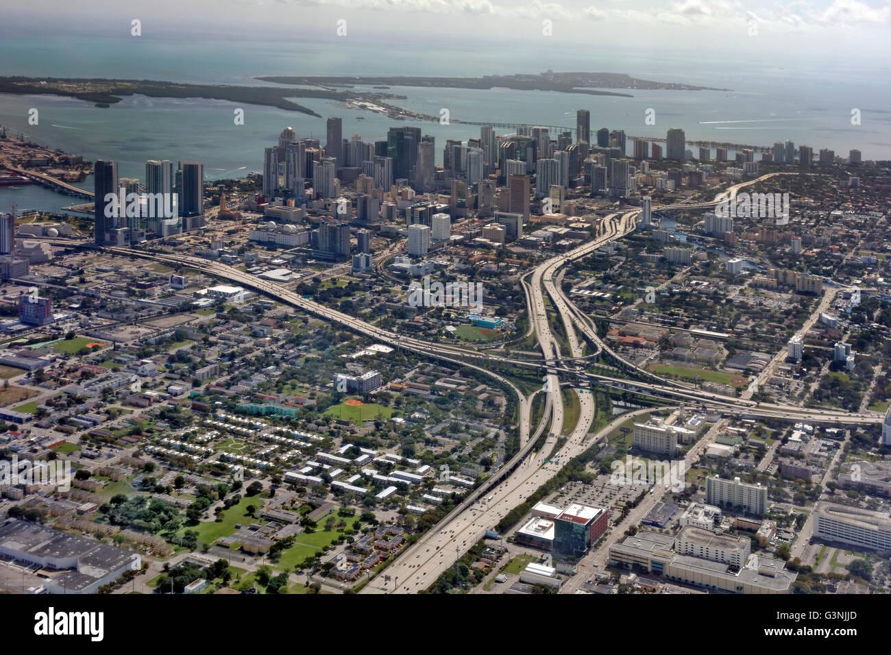 Aerial view of Downtown Miami, Florida, USA - Stock Image