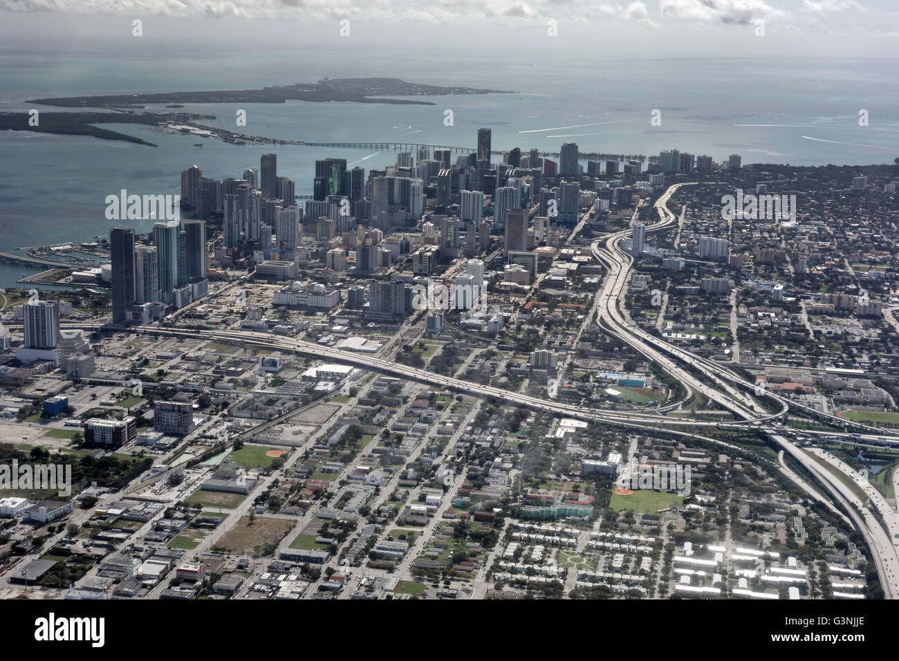 Aerial view, traffic junction, Downtown Miami, Florida, USA - Stock Image