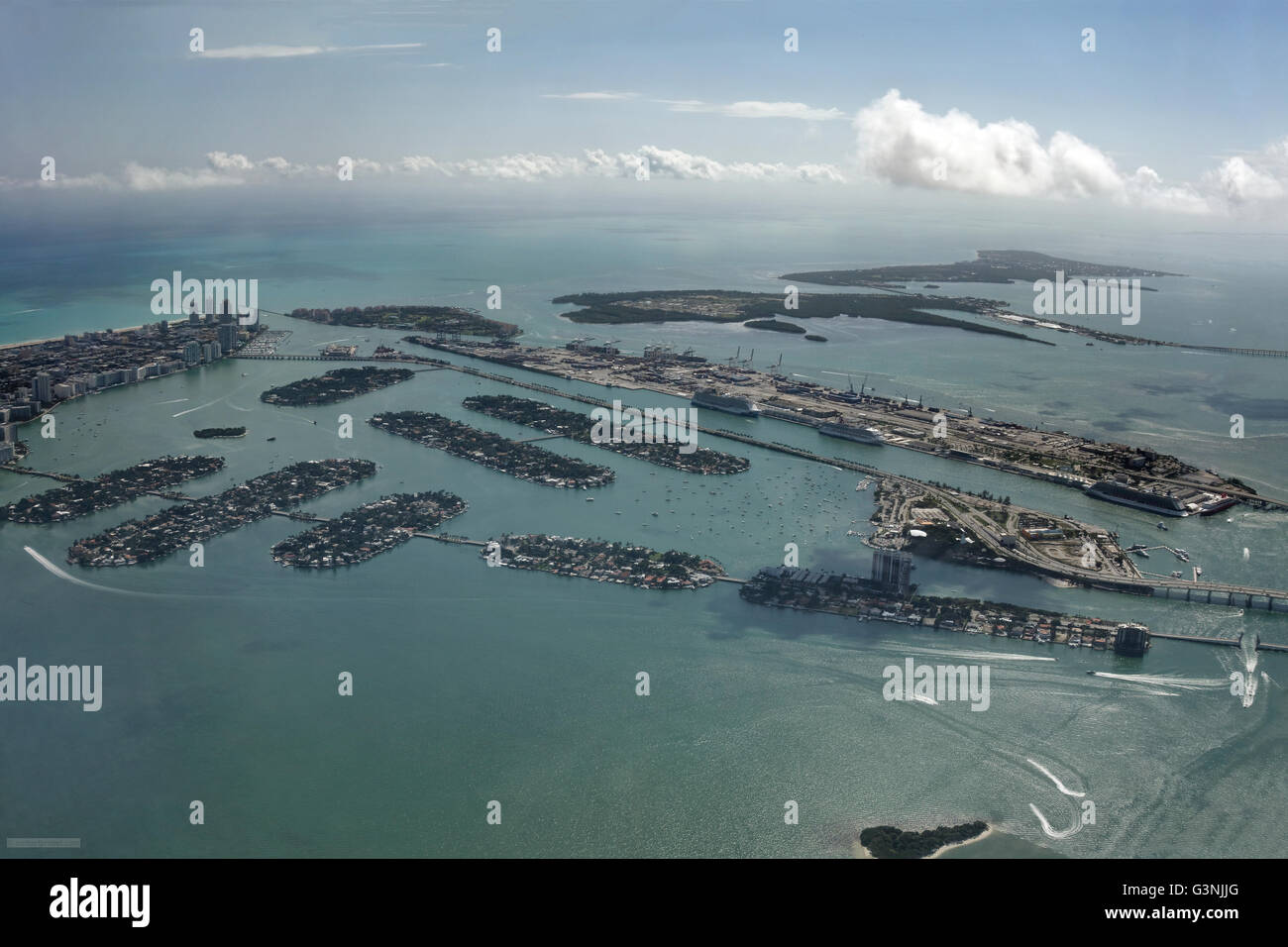 Aerial view, Venetian Islands, Dodge Island behind, harbour, Miami, Florida, USA - Stock Image