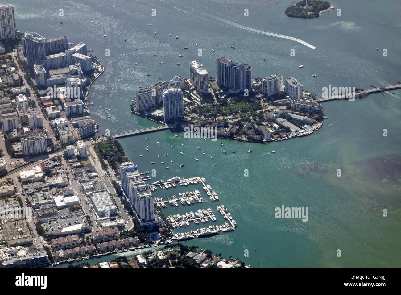 Aerial view, Belle Isle, Miami, Florida, USA - Stock Image