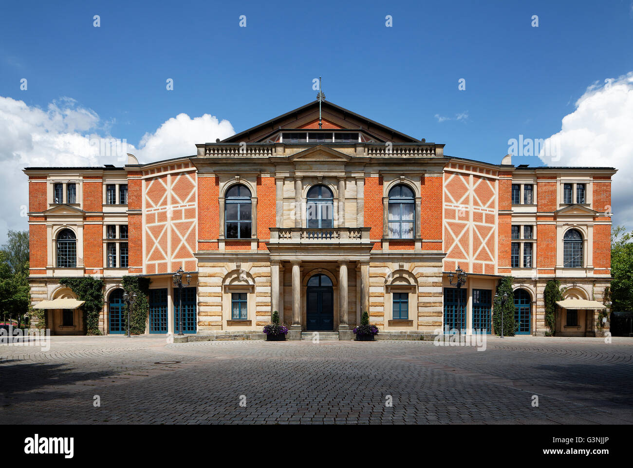 Bayreuth Festspielhaus, Richard Wagner Festival, Bayreuth Festival, festival hill, Bayreuth, Upper Franconia, Franconia, - Stock Image