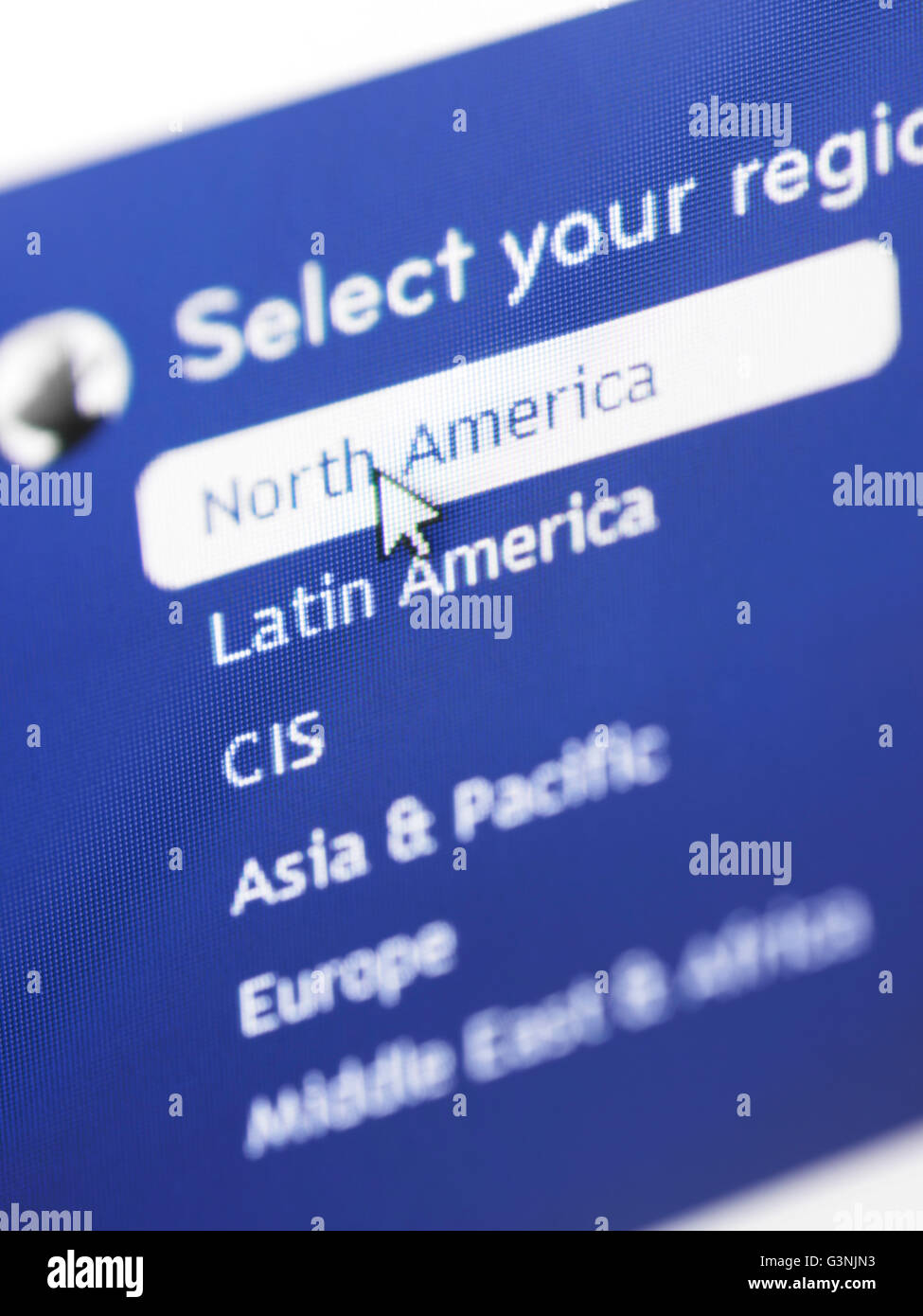 Selecting region from a web site localization menu, selecting North American region - Stock Image