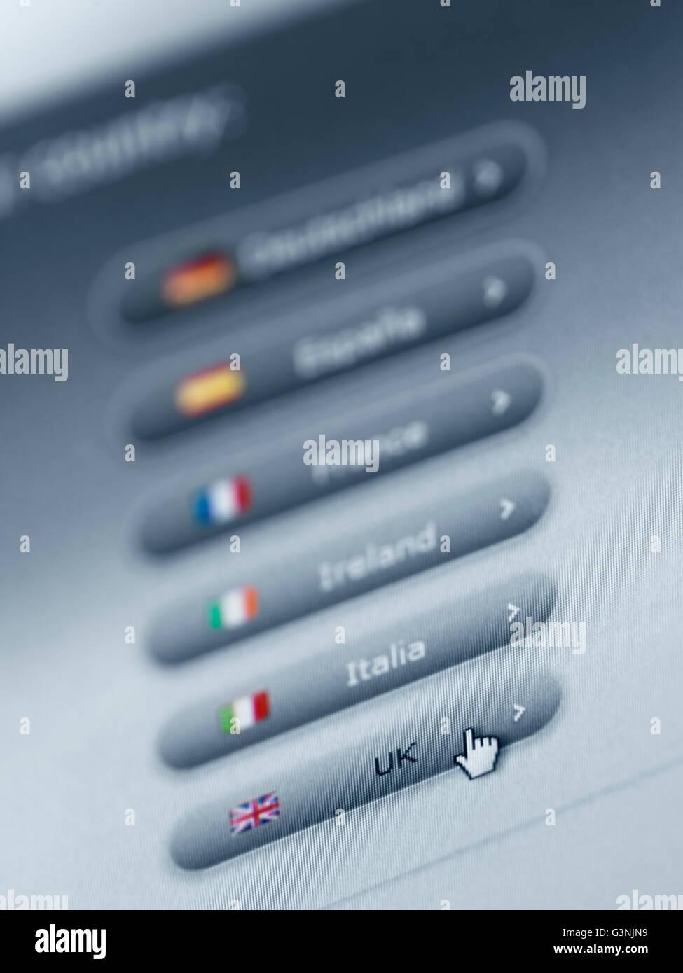 European web site localization menu - Stock Image
