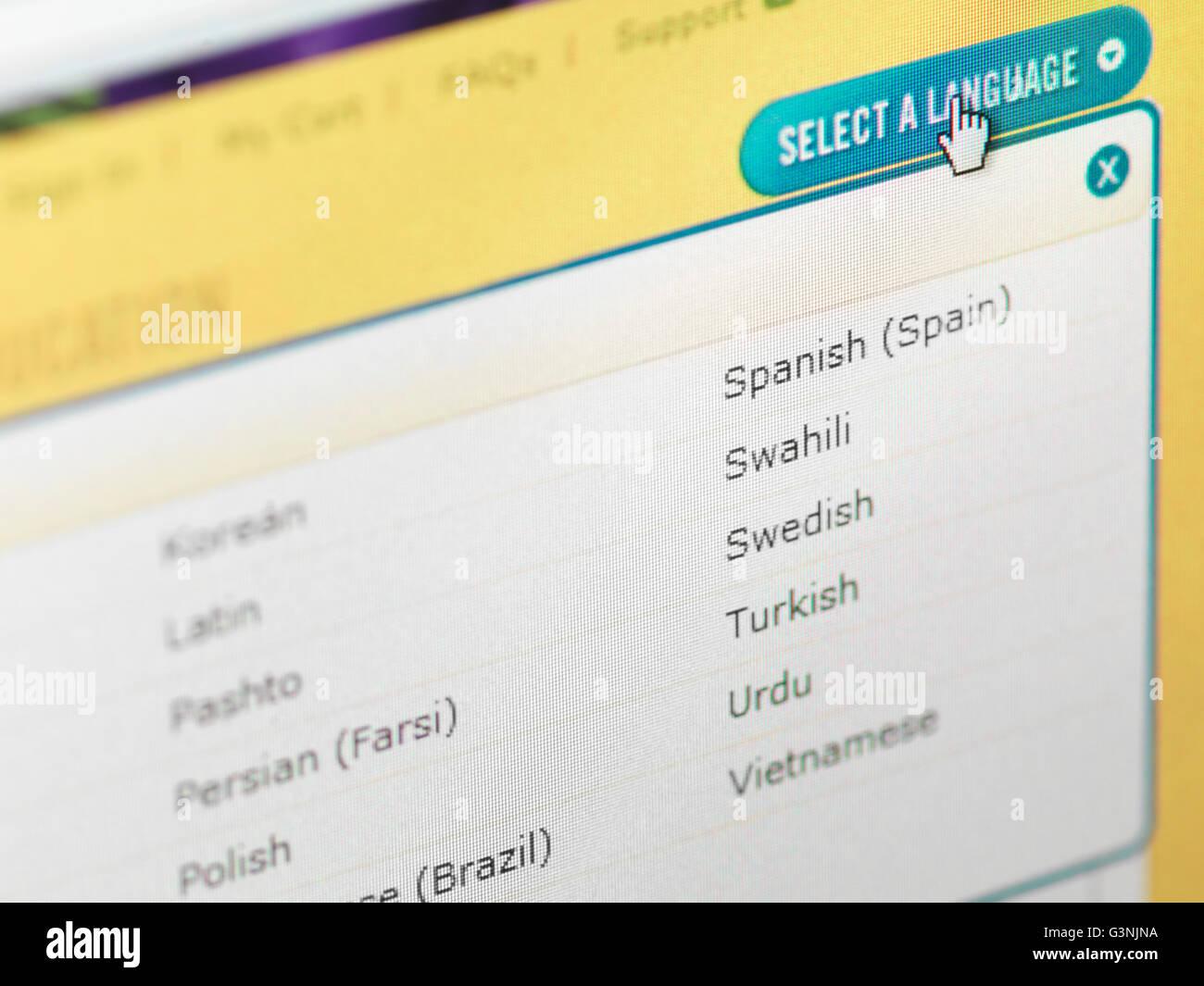 Web site localization menu, language selection - Stock Image
