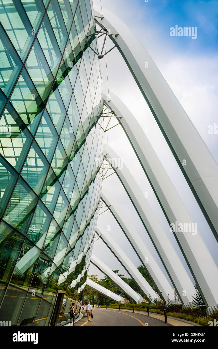 Modern architecture, facade, detail, Flower Dome, The Gardens, Gardens by the Bay, architect Wilkinson Eyre, Marina - Stock Image