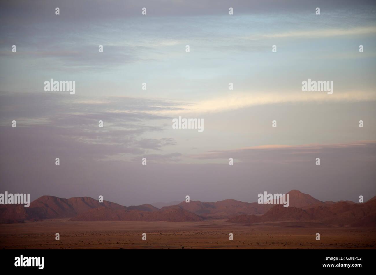 Namib Desert Star Dune Camp Views in Evening in Namibia - Stock Image