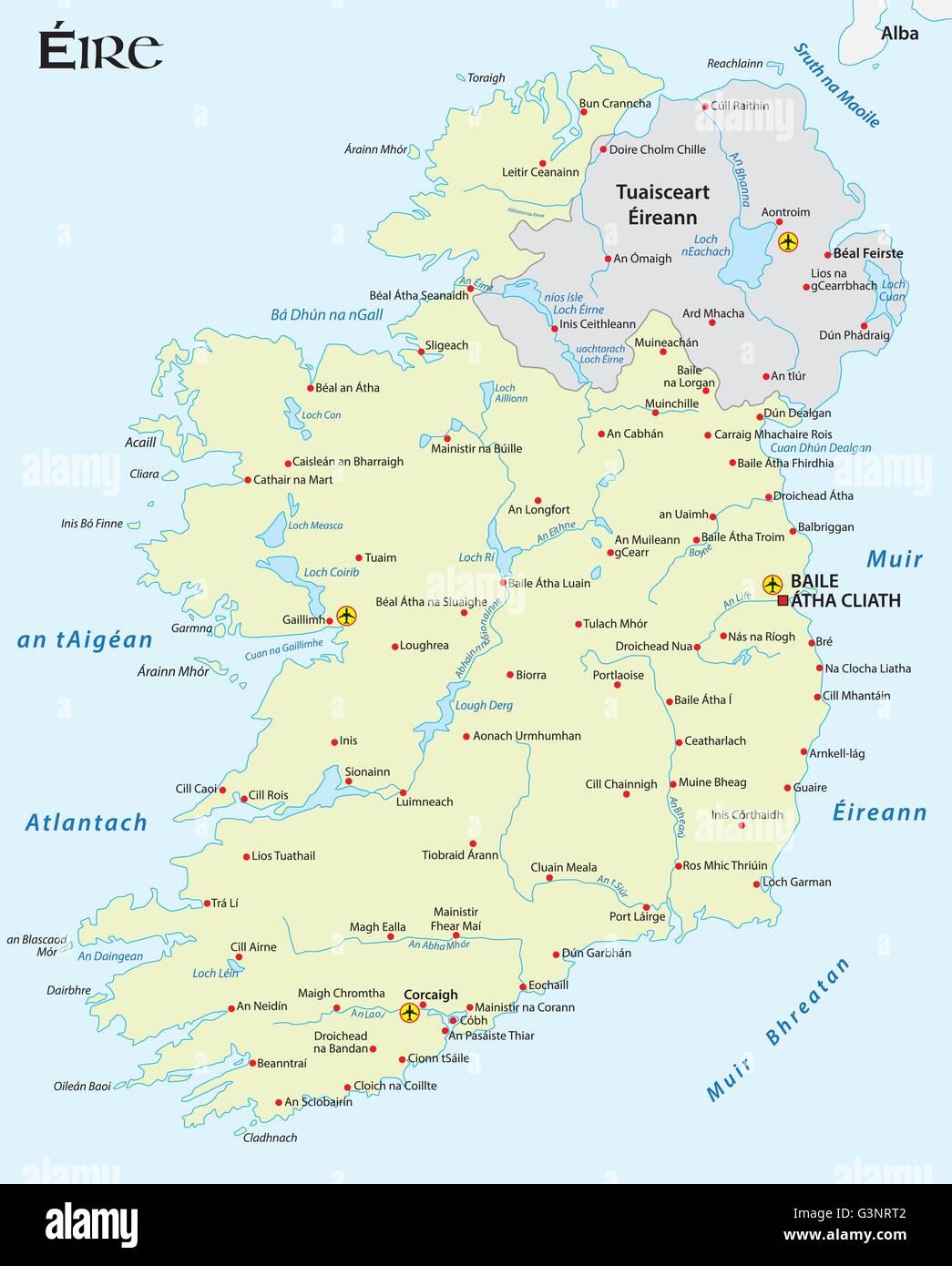 vector map of the Irish republic in Irish Gaelic language - Stock Image