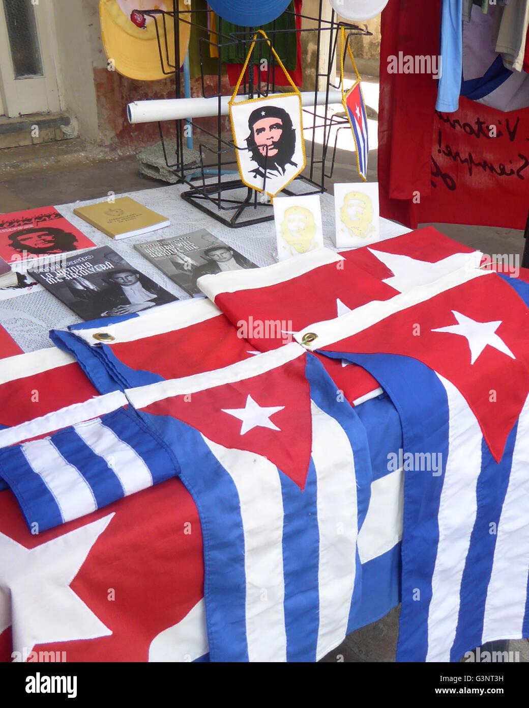Cuba 2015 Cuban flags Che Guevara books - Stock Image