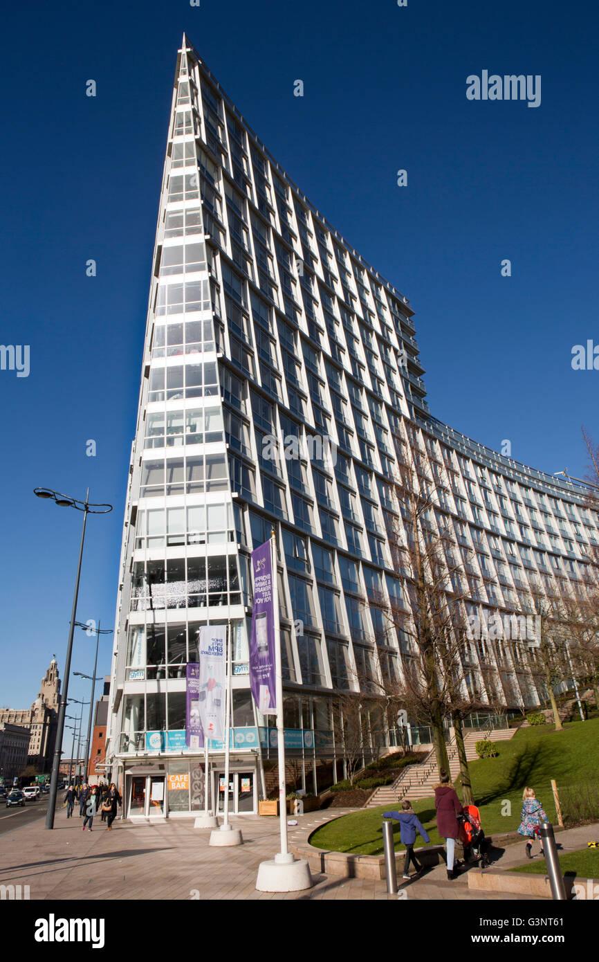 Merseyside, Liverpool, Strand Sreet, One Park West building opposite Albert Dock - Stock Image