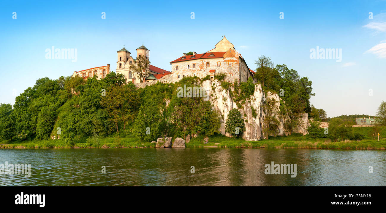 Panorama of Tyniec. Benedictine abbey and Saint Peter and Paul church on the rocky hill by the Vistula River near Stock Photo