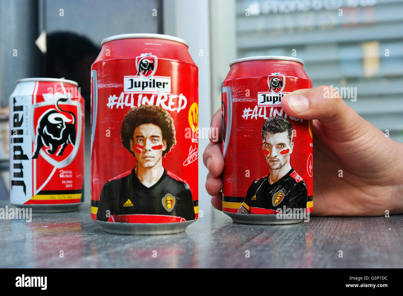 Beer cans with pictures of Belgian Football players - Stock Image