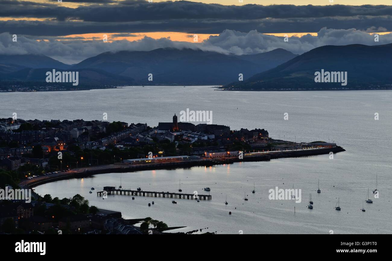 Darkness descends over the west of Scotland, Gourock and the river Clyde - Stock Image