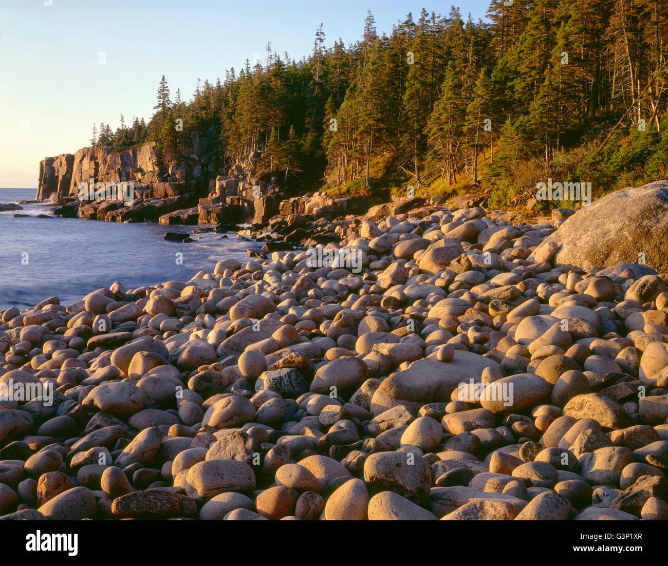 USA, Maine, Acadia National Park, Sunrise light on wave-rounded rocks and Otter Cliffs. Stock Photo
