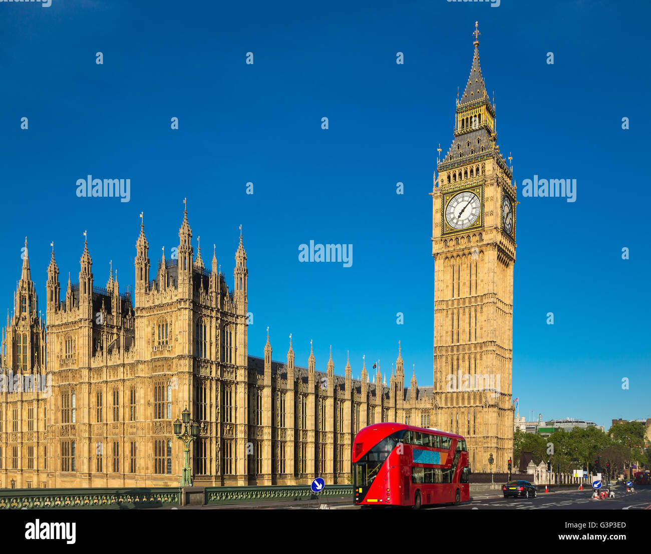Big ben with a red bus in London - Stock Image