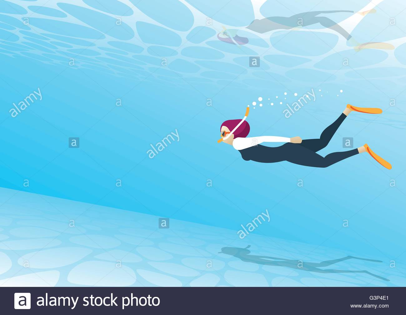 A woman snorkeling - Stock Vector