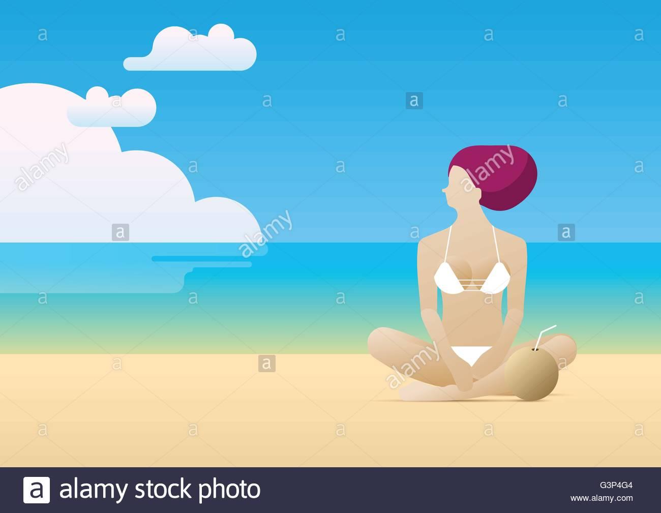 Woman sitting on beach - Stock Vector