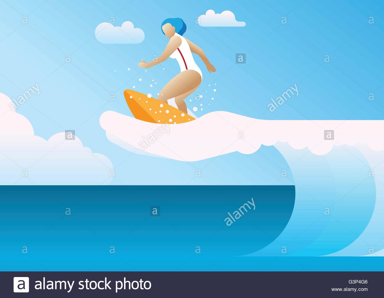 Woman surfing the waves a hand - Stock Vector