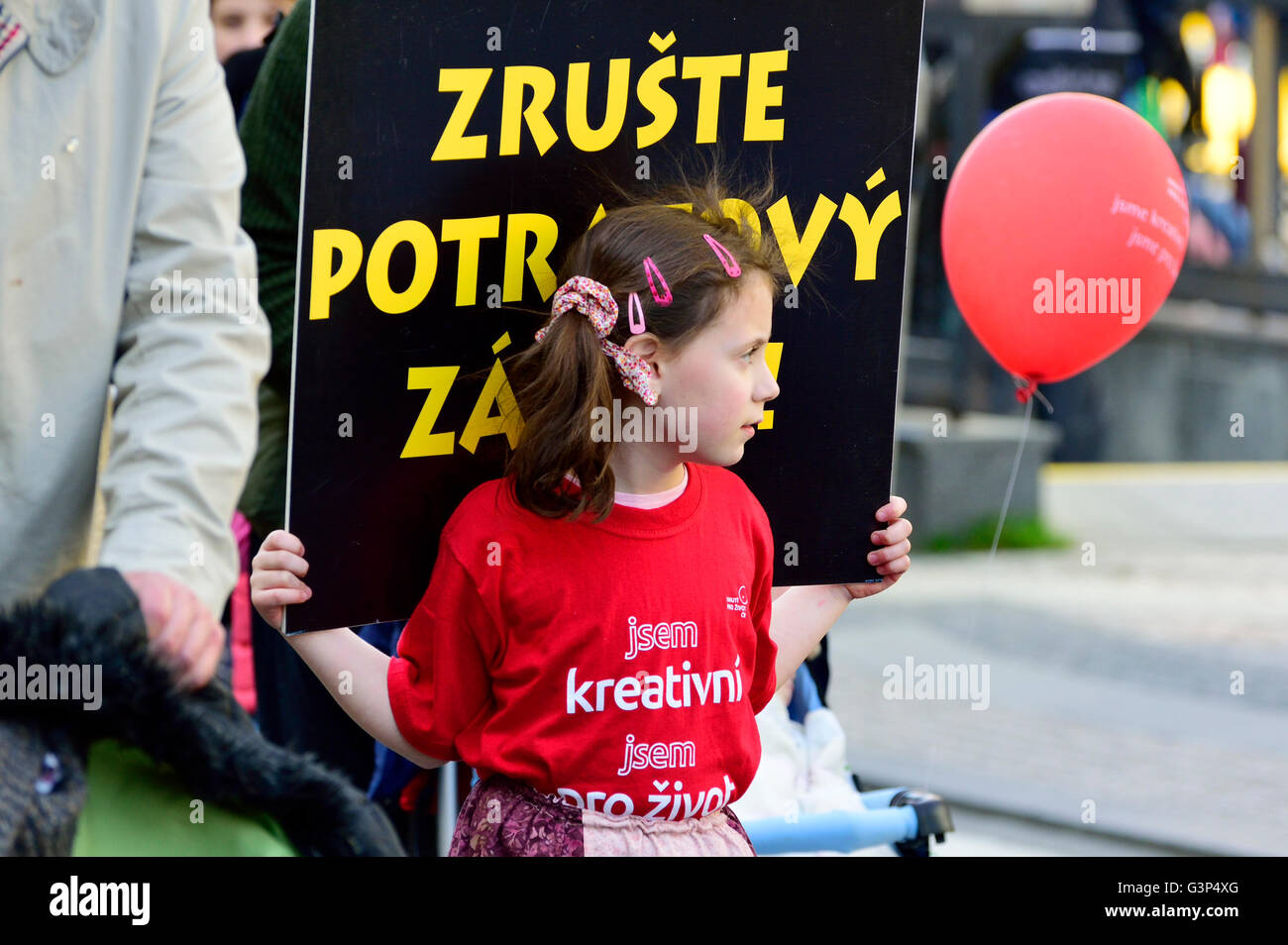 April 2nd, Prague, Czech Republic. Annual National March for Life - pro-life demonstration against abortion,organized - Stock Image
