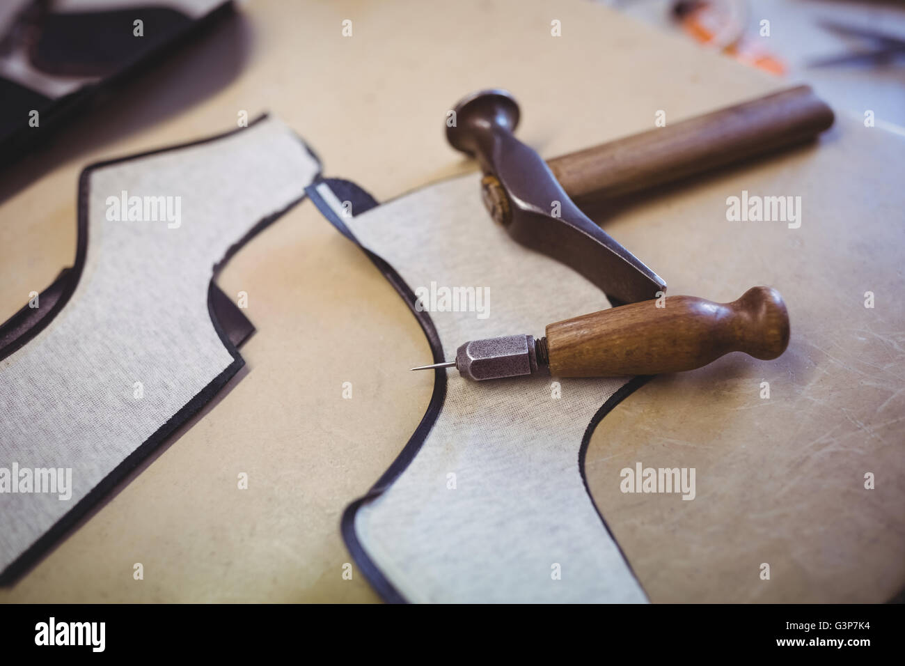 Hammer and awl - Stock Image