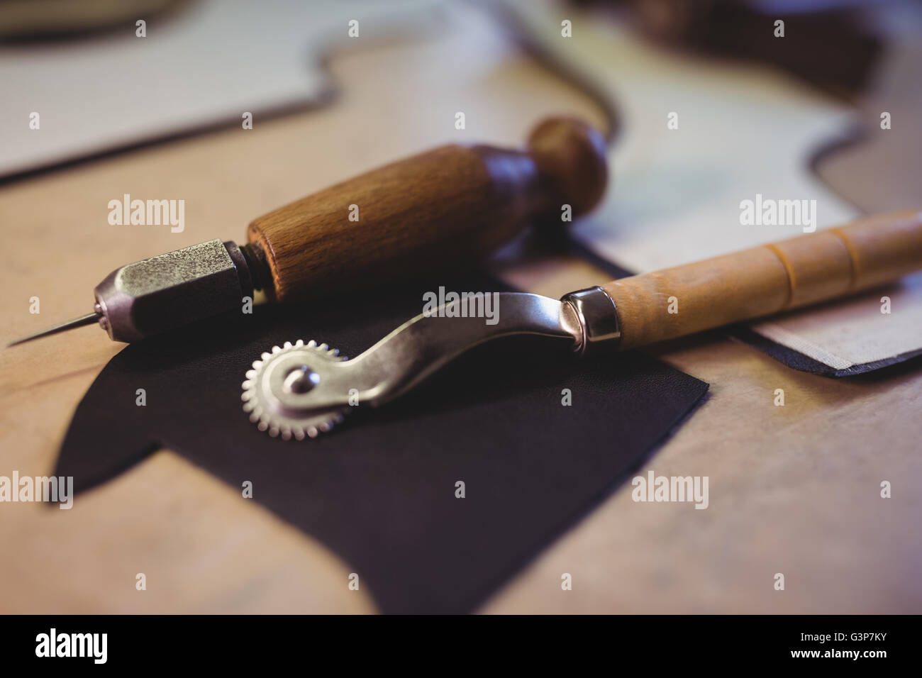 Close-up of tracing wheel and awl - Stock Image