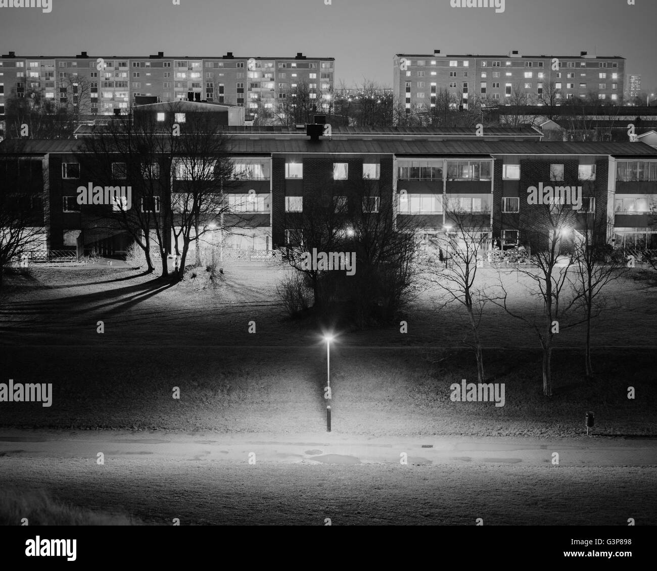 Sweden, Skane, Malmo, Holma, Residential district at night - Stock Image