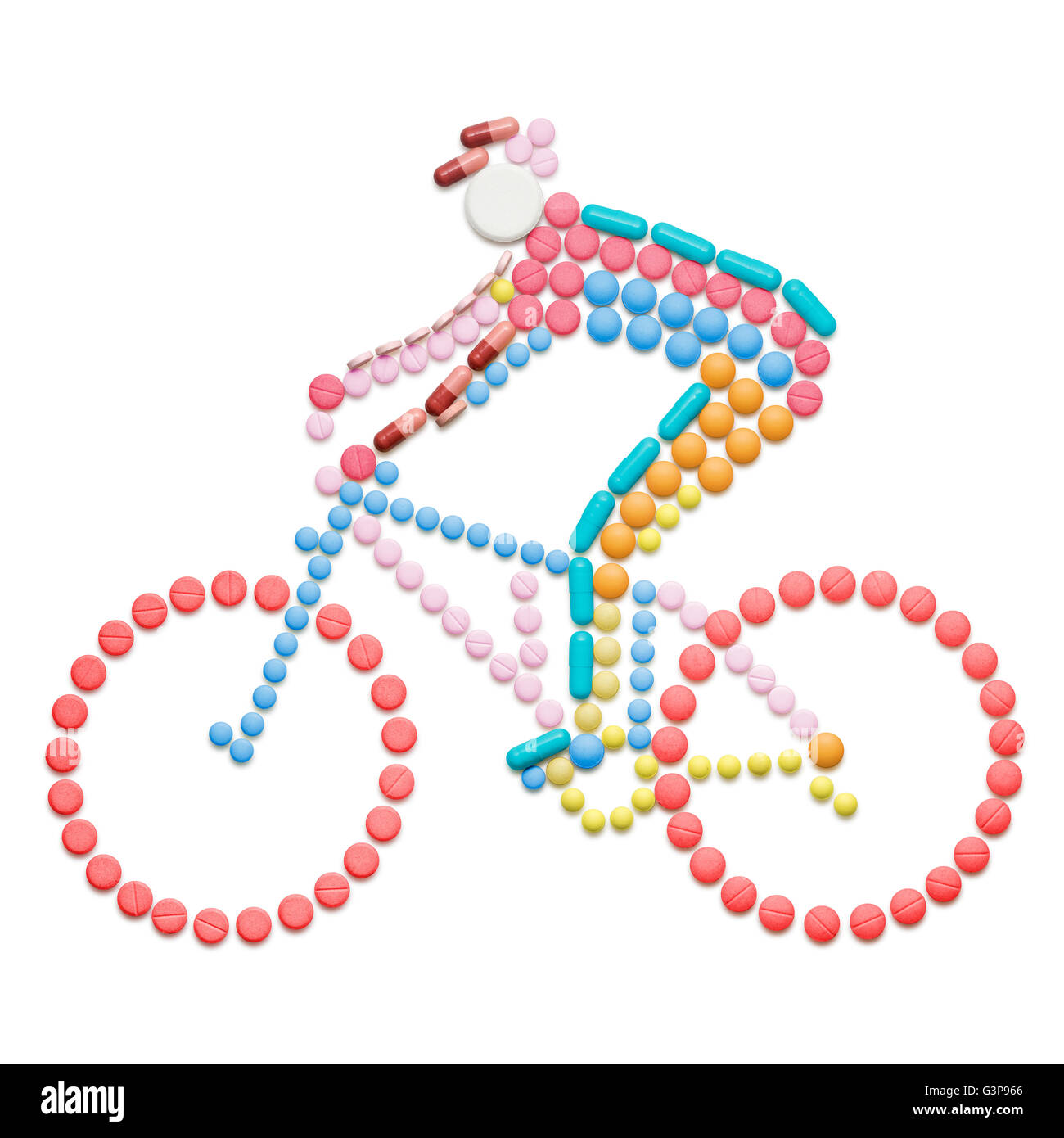 Doping drugs and pills in the shape of a road bicycle racer on a bike. - Stock Image
