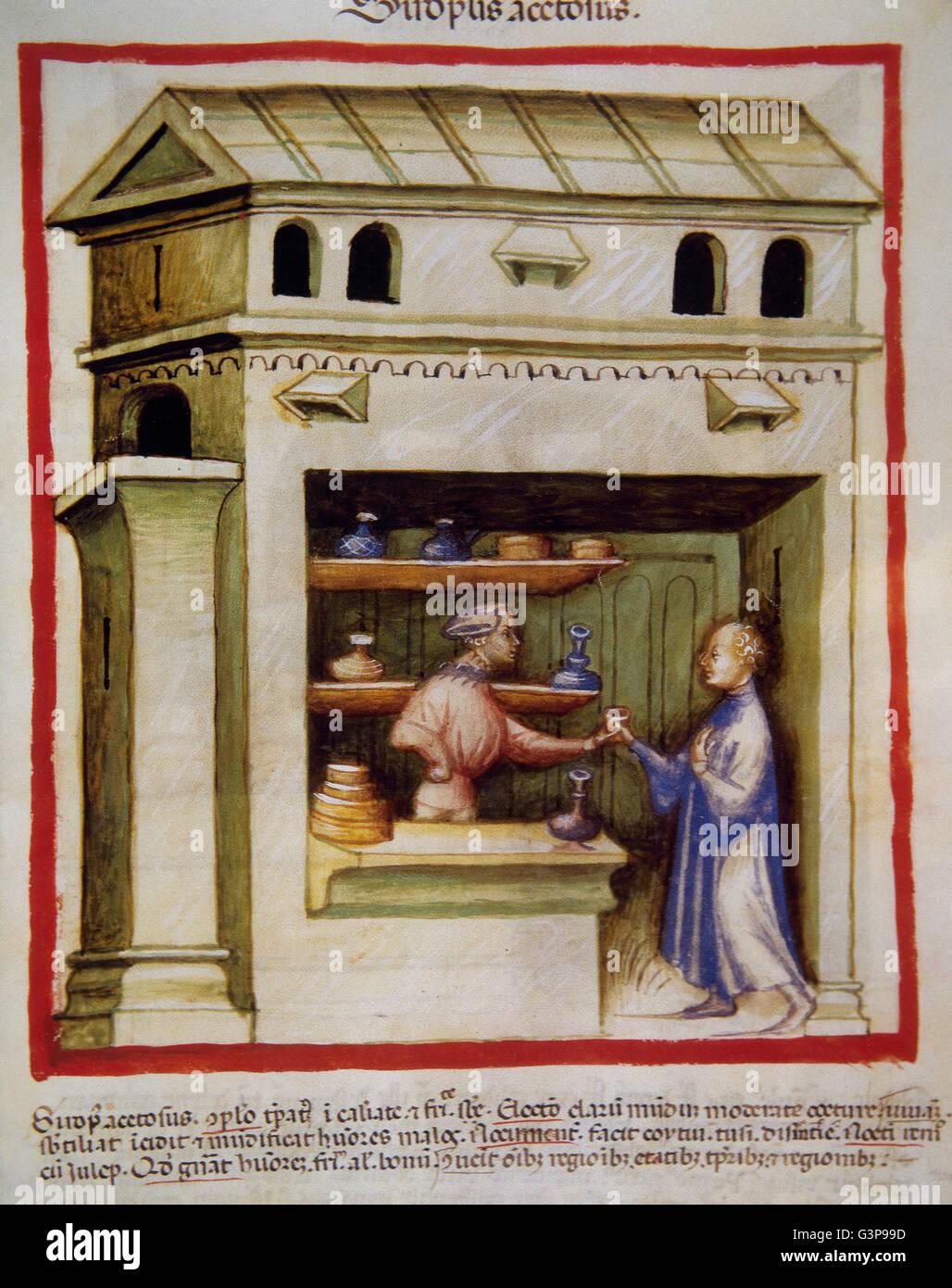 Tacuinum Sanitatis. 14th century. Medieval handbook of health. An apothecary gives vinegar syrup to a man. Folio Stock Photo