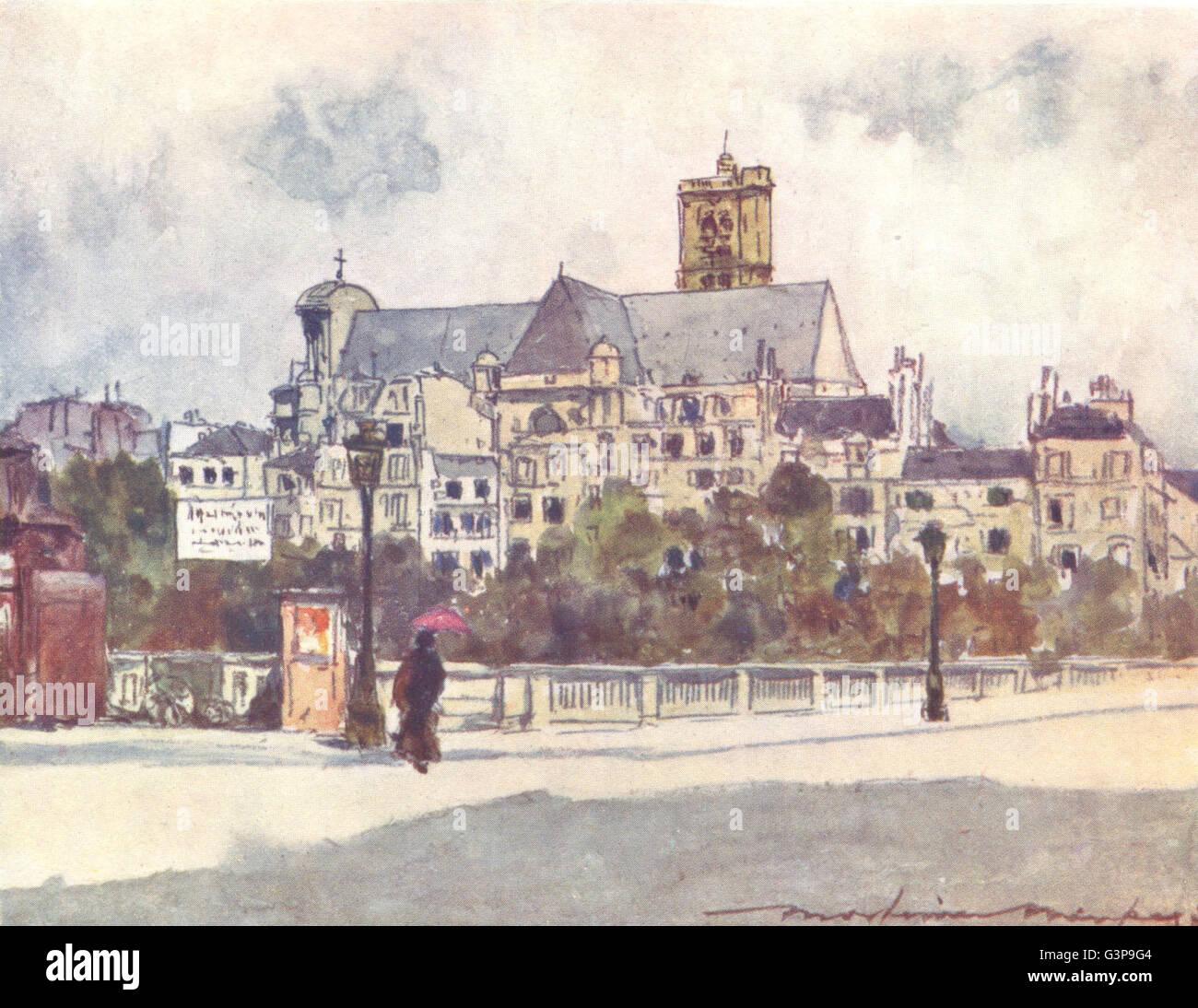 PARIS: Au Bord de La Seine, antique print 1909 - Stock Image