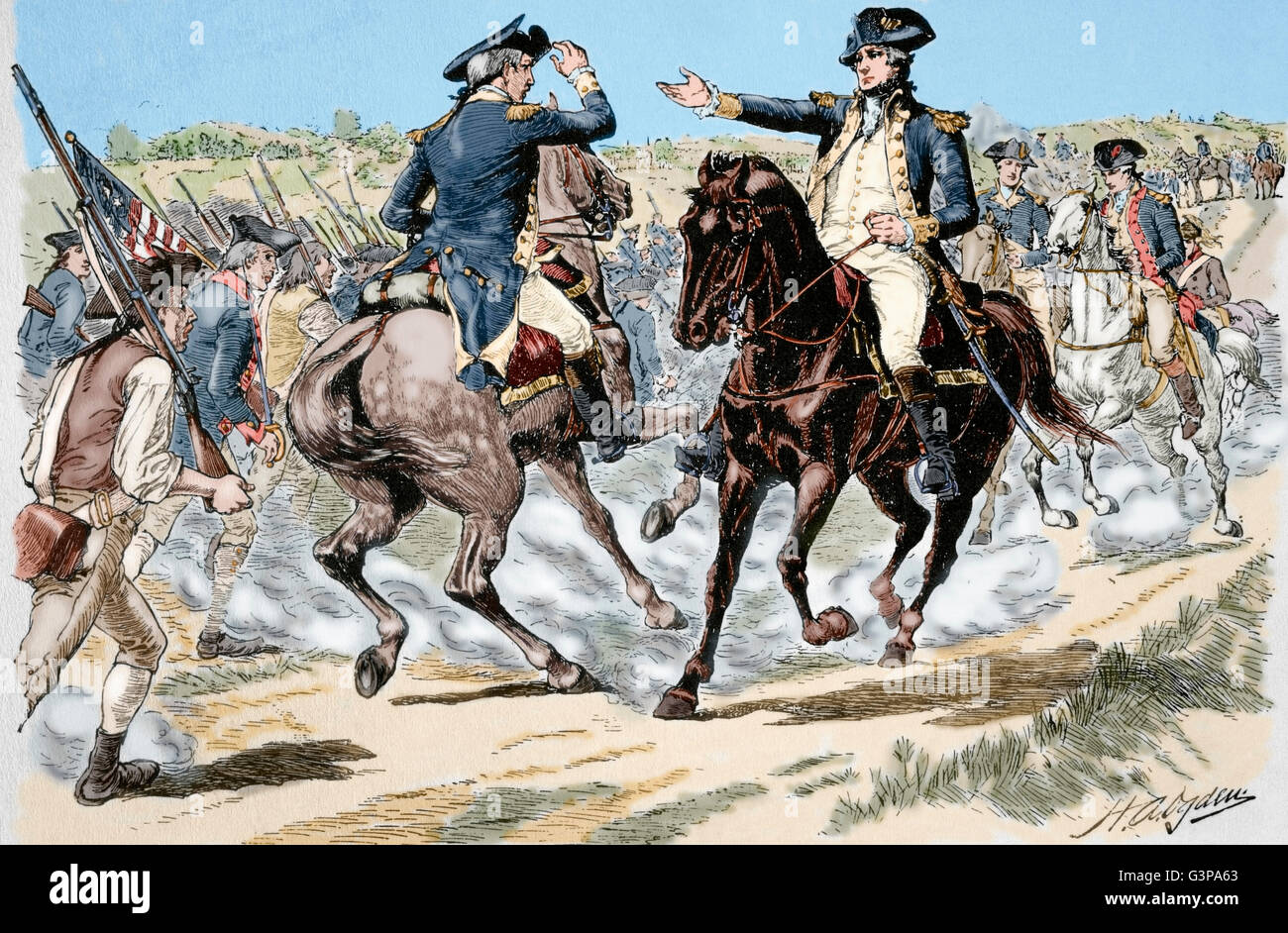 American Revolutionary War (1775-1783). Charles Lee (1732-1782), General of the Continental Army and George Washington - Stock Image
