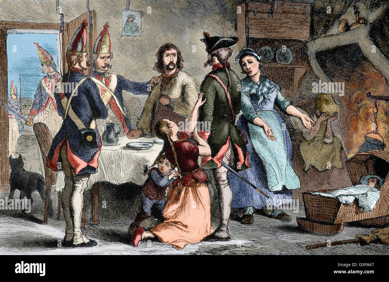 American Revolutionary War (1775-1783). Hessian recruited as a soldier by the British military service while his - Stock Image