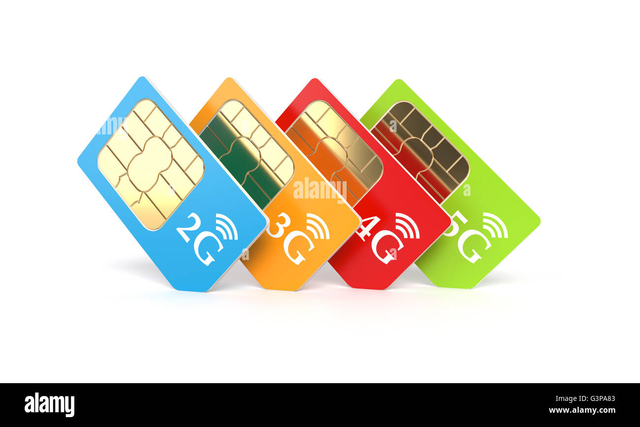 Set of color SIM cards with 2g, 3g, 4g, 5g technology icon isolated