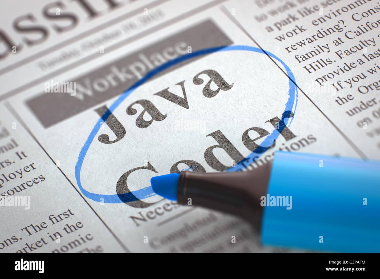 Now Hiring Java Coder. - Stock Image