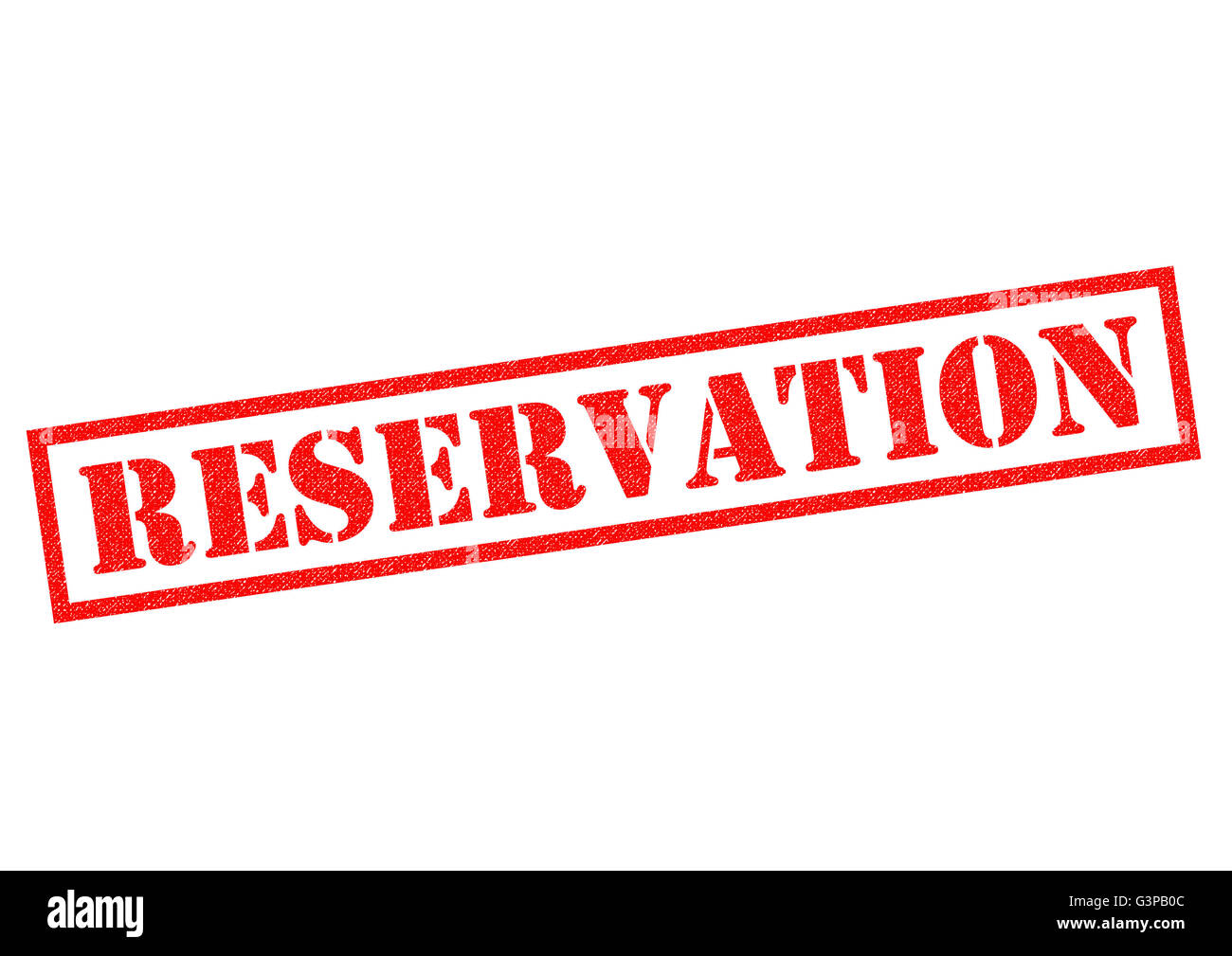 RESERVATION red Rubber Stamp over a white background. - Stock Image