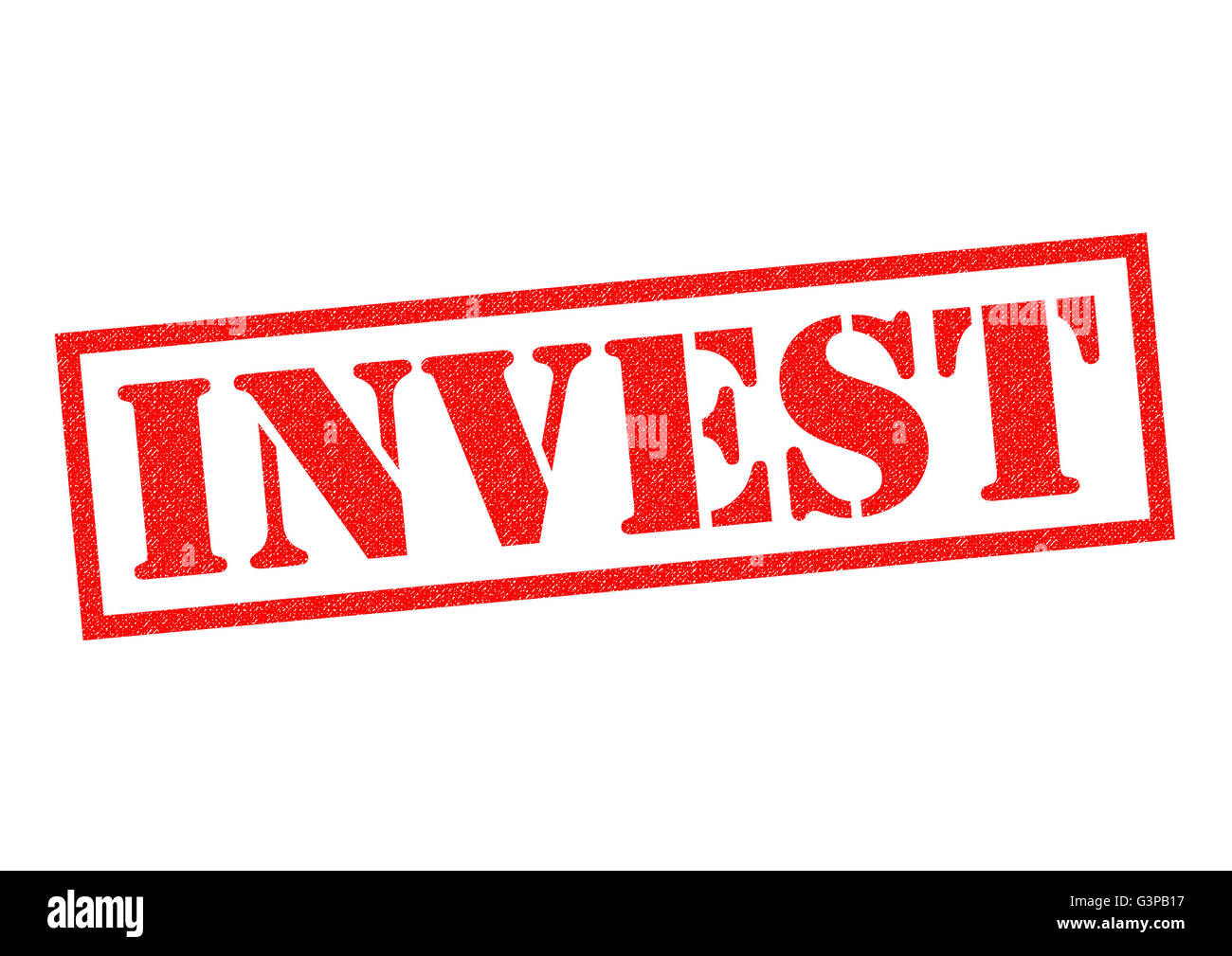 INVEST red Rubber Stamp over a white background. - Stock Image